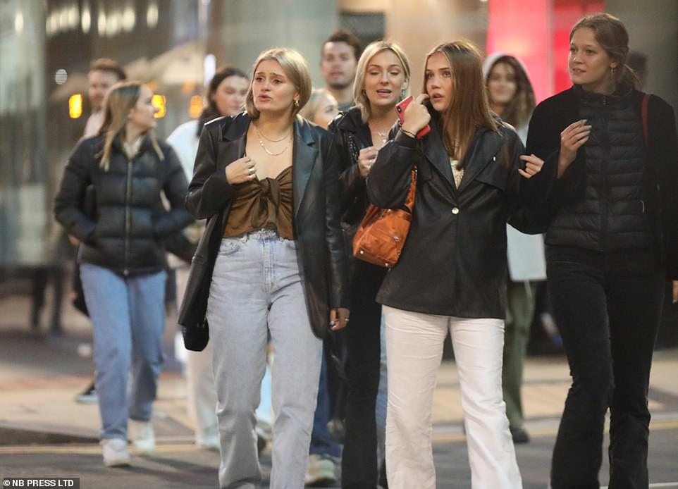 Leeds director of public health Victoria Eaton said the city's virus rate was 98.5 per 100,000 people with a positive testing rate of 8.4 per cent. Pictured: Students and young people out drinking in the city this week
