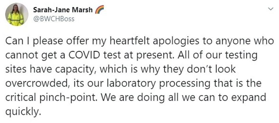 Ms Marsh said there is capacity at testing sites but laboratories processing the tests are at a 'critical pinch-point'