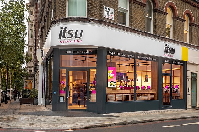 Deserted: Some 35 of Itsu's 77 stores are still shut. A third of its staff are on furlough. Last month it completed an insolvency procedure, known as a company voluntary agreement