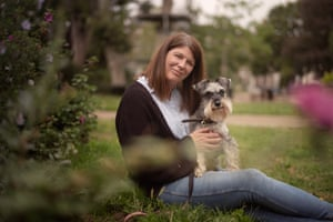 Sally Yates and Effie the schnauzer, photographed near their London home. They are about to move to Dorset.
