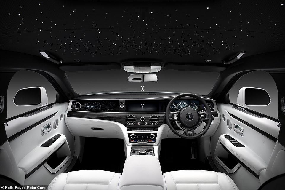 Rolls-Royce says the simple interior design rejects 'superficial embellishments' to create a more relaxing 'refuge' with the very finest leathers, woods and metals - the star headlining adds to the effect