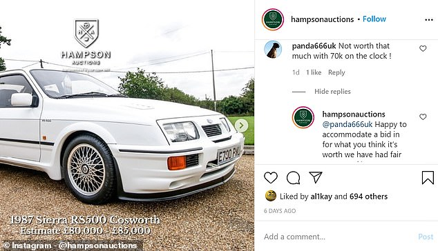 Petrolheads took to Instagram to dispute the estimation fee of £80,000 to £85,000 for the car