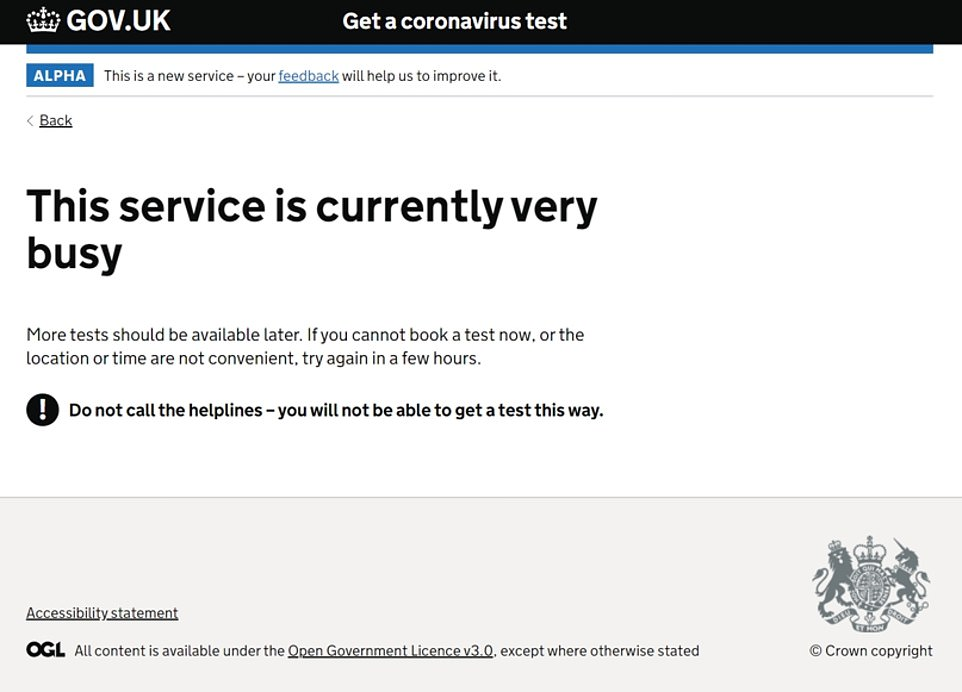 Those trying to get tests in the ten UK hotspots are being greeted with this message