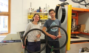 Rebecca and Jon Webb inside the workshop at 'Just Riding Along'.