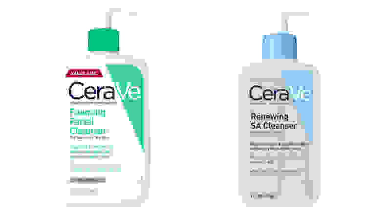 CeraVe Foaming Facial Cleanser and the CeraVe Renewing SA Cleanser