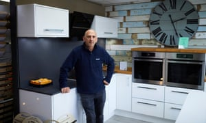 Andrew Graham at his kitchen and bedroom fitting shop in Bolton.