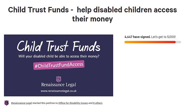 A petition started by Philip Warford's law firm Renaissance Legal has just under 4,500 signatures. It has seen a spike in interest since the problem of disabled children's trust funds was raised on TV at the end of August
