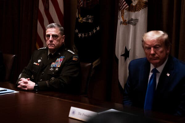 "General Mark Milley of the Joint Chiefs of Staff and President Trump at the White House in May. In remarks released last month, the general said, ""I believe deeply in the principle of an apolitical U.S. military."""