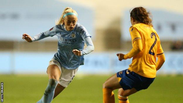 Manchester City forward Chloe Kelly plays in a Continental League Cup match against Everton