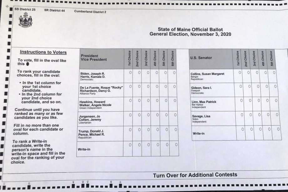 This absentee ballot for the 2020 Maine general election, photographed on Thursday, Oct. 22, 2020 in Falmouth, Maine, shows how Maine voters are allowed to rank presidential and senate candidates in order of ranked choice preference. It is the first time a ranked voting system is being used for a presidential race. Photo: David Sharp, AP / Copyright 2020 The Associated Press. All rights reserved