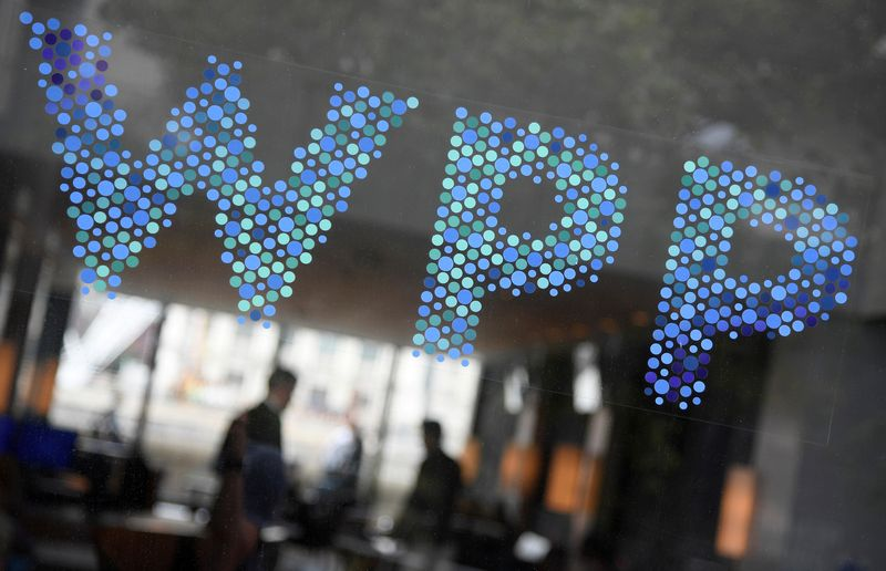 © Reuters. FILE PHOTO:  Branding signage is seen for WPP, the world's biggest advertising and marketing company, at their offices in London