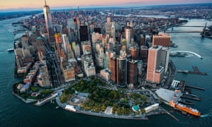 New York City, Aerial view of downtown district