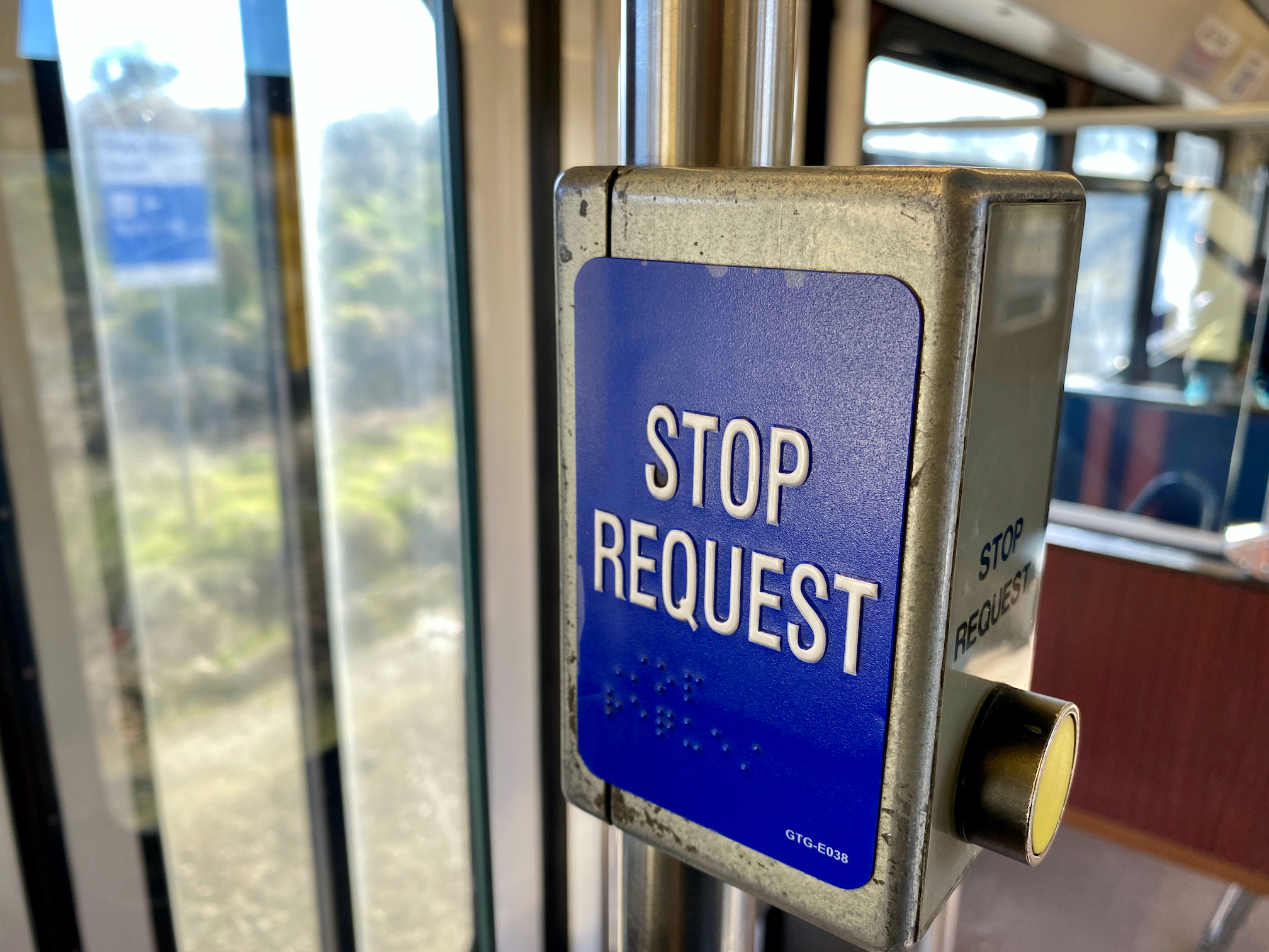 Stop request sign on light-rail train in Sacramento