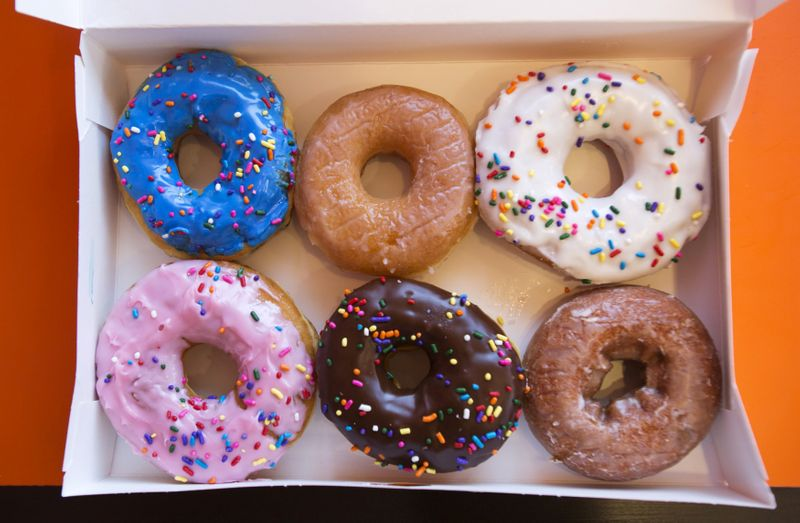 © Reuters. FILE PHOTO: A box of donuts is pictured at a newly opened Dunkin' Donuts store in Santa Monica