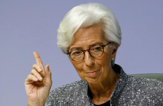 "© Bloomberg. Christine Lagarde, president of the European Central Bank (ECB), gestures during the central bank's rate decision news conference in Frankfurt, Germany, on Thursday, March 12, 2020. Lagarde urged governments to stop dithering in their economic response to the coronavirus as she warned that the outbreak already constitutes a ""major shock"" to global growth prospects."