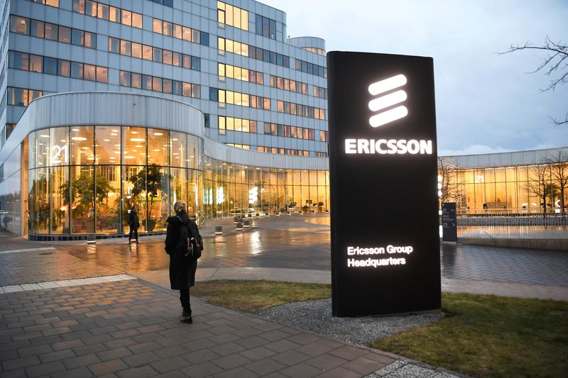 © Reuters. FILE PHOTO:  A general view of an exterior of the Ericsson headquarters in Stockholm