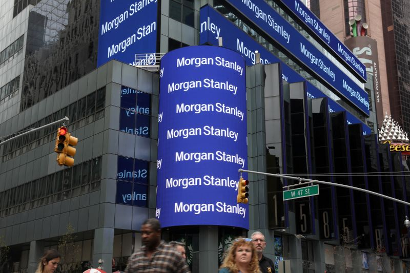 © Reuters. FILE PHOTO: The corporate logo of financial firm Morgan Stanley is pictured on the company's world headquarters in New York