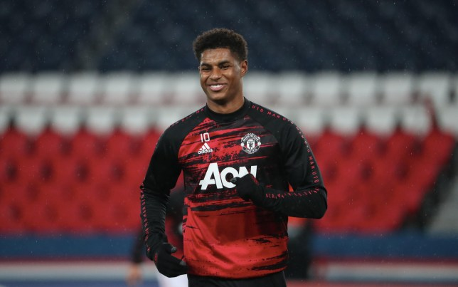 Marcus Rashford looks on ahead of Manchester United's Champions League clash with PSG
