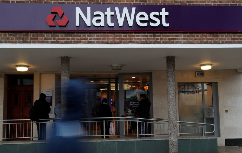 © Reuters. FILE PHOTO:  The logo of NatWest Bank, part of the Royal Bank of Scotland group is seen outside a branch in London