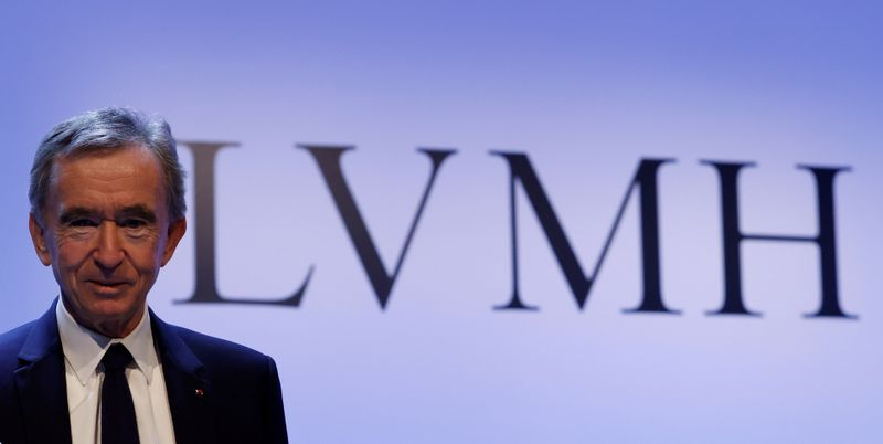 © Reuters. FILE PHOTO: LVMH luxury group Chief Executive Bernard Arnault announces their 2019 results in Paris