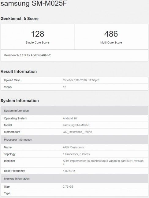 Samsung Galaxy M02 visits Geekbench