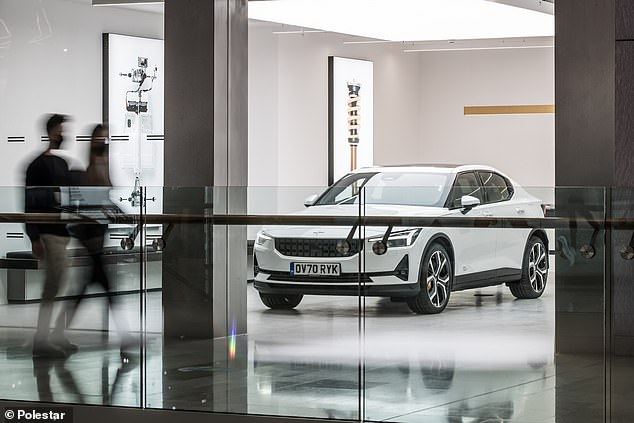 'Hassle-free' car sales: Polestar will open its new showroom in Westfield Shopping Centre in West London on Saturday - and in-store staff are forbidden from selling the vehicles