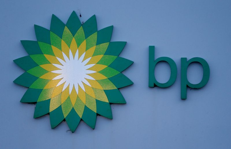 © Reuters. FILE PHOTO: Photograph shows a sign outside BP's North Sea Headquarters in Aberdeen