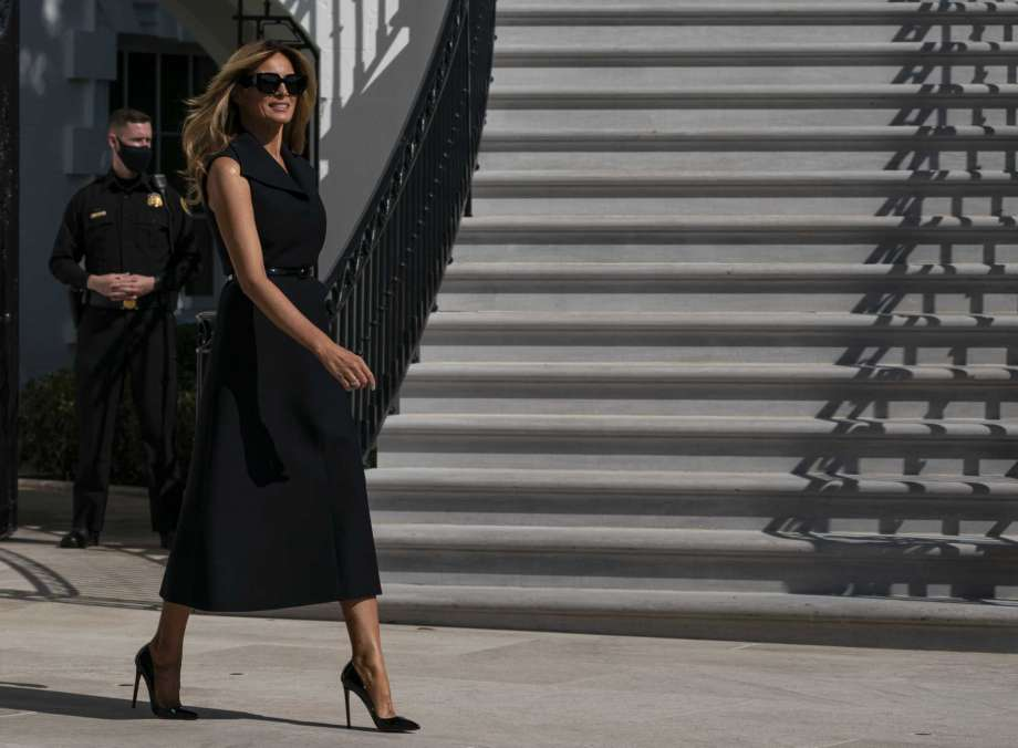First lady Melania Trump President walks to board Marine One on the South Lawn of the White House, Thursday, Oct. 22, 2020, in Washington. Trump is headed to Nashville, Tenn., for a debate. Photo: Alex Brandon, AP / Copyright 2020 The Associated Press. All rights reserved.
