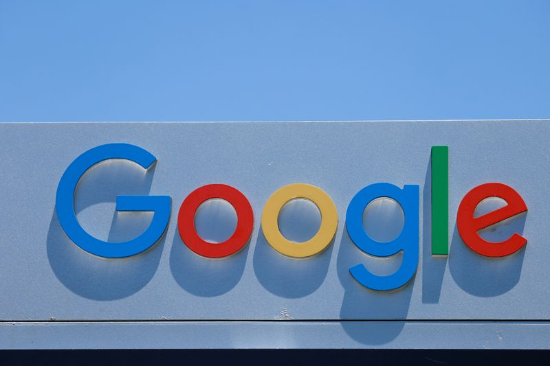 © Reuters. FILE PHOTO: A Google sign is shown at one of the company's office complexes in Irvine, California