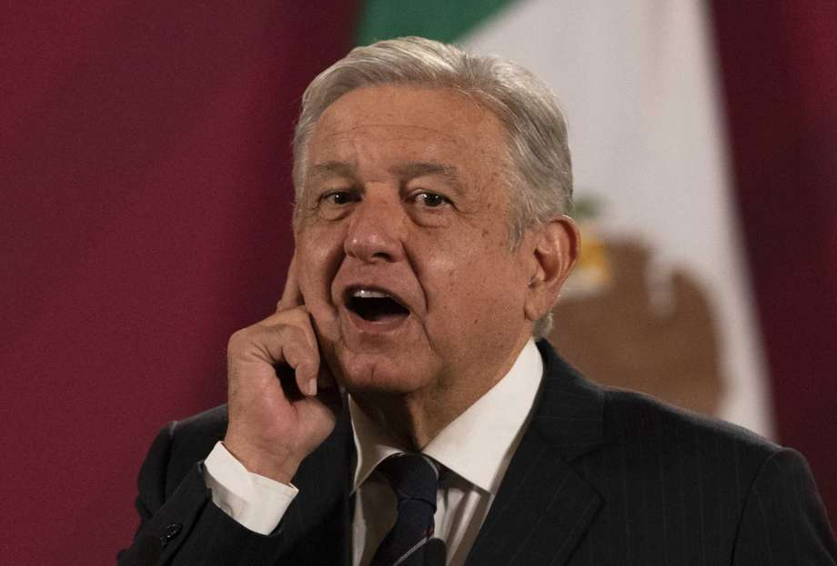 Mexican President Andres Manuel Lopez Obrador gives his daily, morning news conference at the presidential palace, Palacio Nacional, in Mexico City, Friday, Oct. 16, 2020. López Obrador said Friday that his ambassador to the United States told him two weeks ago that there was an investigation underway there involving Mexico's former defense secretary, retired Gen. Salvador Cienfuegos, who was arrested Thursday in Los Angeles. Photo: Marco Ugarte, AP / Copyright 2020 The Associated Press. All rights reserved.