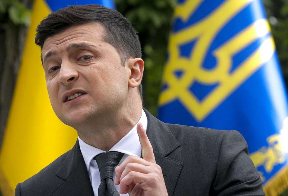 FILE In this file photo taken on Wednesday, May 20, 2020, Ukraine's President Volodymyr Zelenskiy speaks to the media during a news conference in Kyiv, Ukraine. Ukrainians are heading to the polls on Sunday, Oct. 25, 2020 to cast ballots in local elections seen as a key test for President Volodymyr Zelenskiy. Zelenskiy, a popular comedian without prior political experience, was elected by a landslide in April 2019 on promises to end fighting with Russia-backed separatists in eastern Ukraine, uproot endemic corruption and shore up a worsening economy. (Sergey Dolzhenko/Pool Photo via AP, File) Photo: Sergey Dolzhenko, AP / POOL EPA