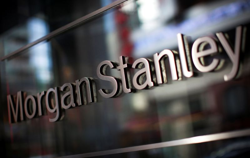 © Reuters. FILE PHOTO: The corporate logo of financial firm Morgan Stanley is pictured on the company's world headquarters in the Manhattan borough of New York City