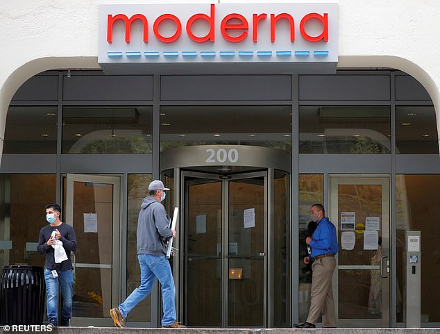Countries with contracts already include the US, Canada, Japan, Switzerland, Israel and Qatar, and talks are ongoing with the European Union. Pictured: A sign marks the headquarters of Moderna in Cambridge, Massachusetts, May 2020