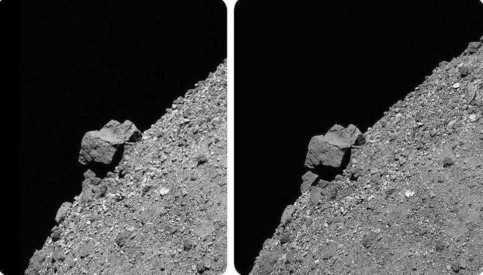This set of stereoscopic images provides a 3D view of the large, 170-foot boulder that juts out from Bennu