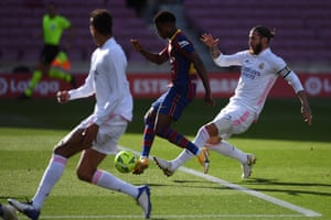 Ansu Fati slots the ball home to put Barcelona back on level pegging.