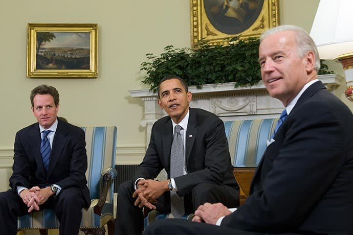 January 2009: then president Barack Obama with Treasury secretary Timothy Geithner, left, and vice-president Joe Biden, whose economic response to the financial crisis led to a steady yet sluggish recovery