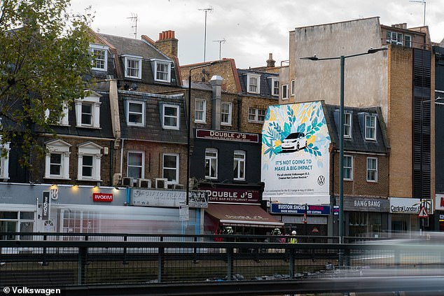 One of the billboards is on the busy Euston Road in central London close to Great Portland Street tube station