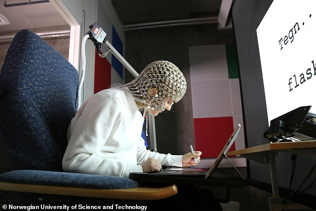 EEG was used to track and record brain wave activity using a hood fitted with more than 250 electrodes attached to the outer lining.The data showed an increase of activity in the sensorimotor parts of the brain, which is involved with processing, attention and language