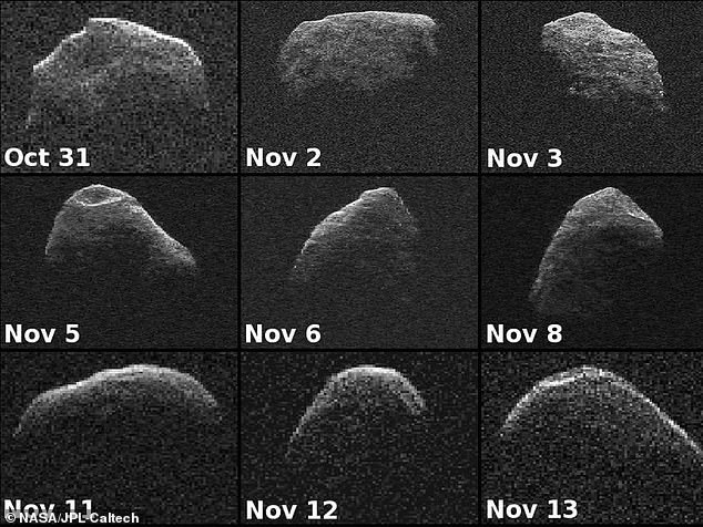 Prior to the discovery, the impact was said to impossible, but the new findings suggest the asteroid has a chance of crashing into Earth on April 12, 2068. An impact would be equivalent to 880 million tons of trinitrotoluene (TNT) exploding all at once. (Pictured are images of the asteroid in 2012)