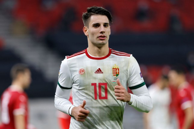 Arsenal transfer target Dominik Szoboszlai looks on during Hungary's Nations League clash with Serbia