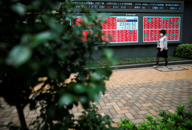 © Reuters. A passersby wearing a protective face mask walks in front of a stock quotation board, amid the coronavirus disease (COVID-19) outbreak, in Tokyo