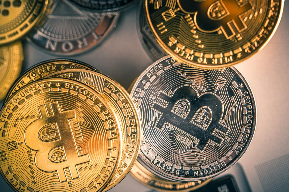 Close Up Of Crypto Money Placed On Table.