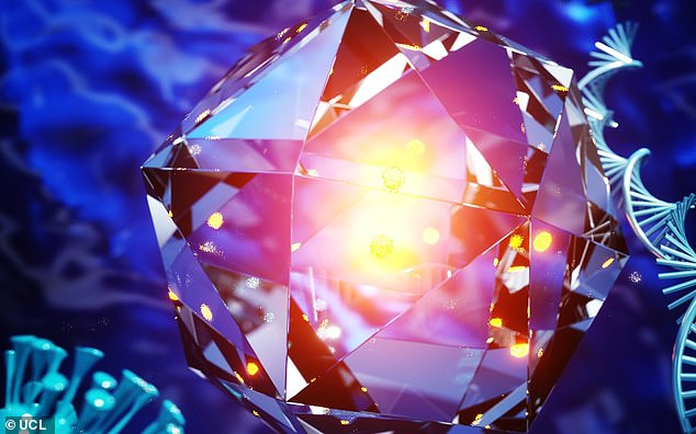 This artist's impression reveals how the nanodiamonds glow when they come into contact with a predetermined compound, which could be the antigens of a virus