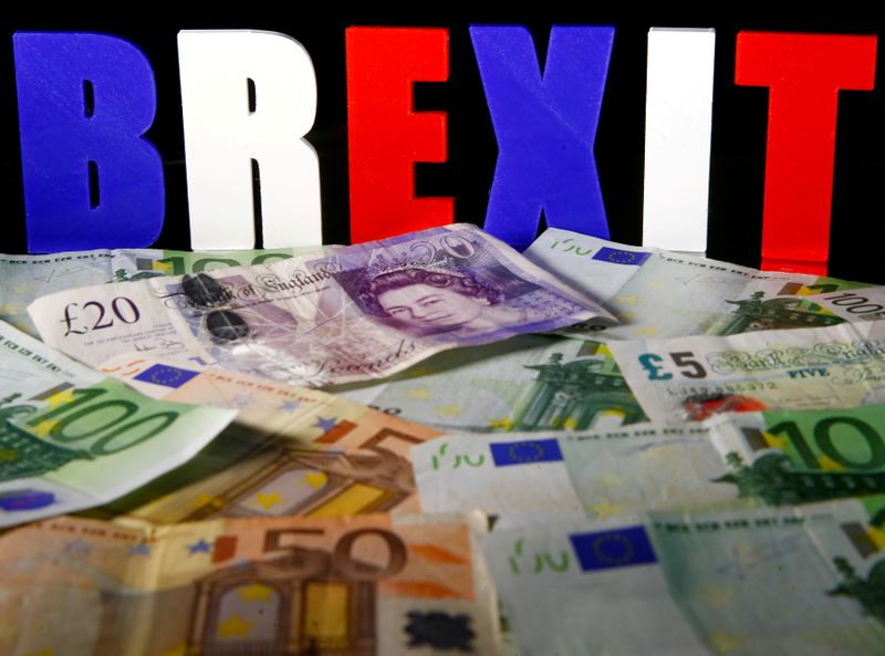 © Reuters. FILE PHOTO: Euro and Pound banknotes are seen in front of BREXIT letters in this picture illustration