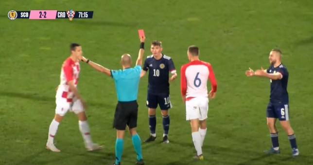Chelsea midfielder Billy Gilmour was sent off during his injury comeback for Scotland Under-21s