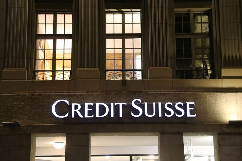 © Reuters. The logo of Swiss bank Credit Suisse is seen in Bern