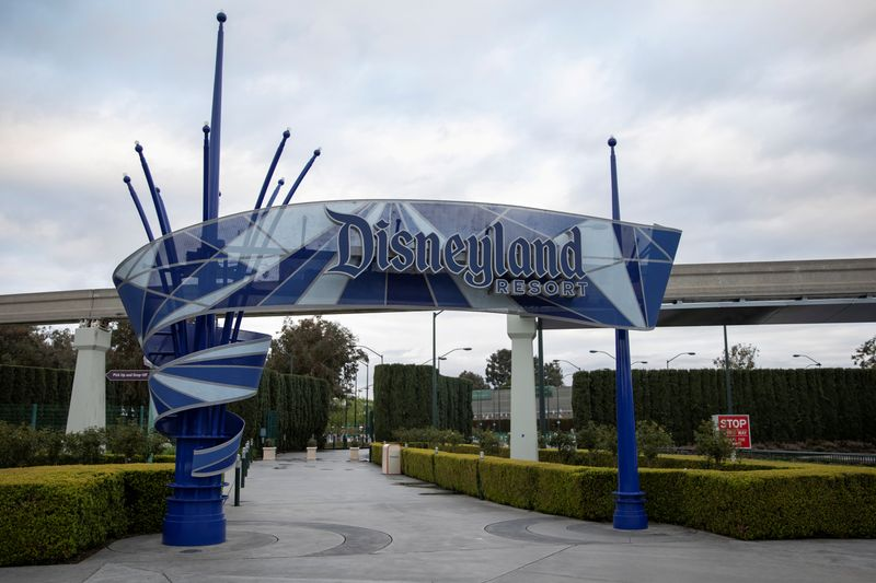 © Reuters. FILE PHOTO: Walt Disney Co's  Disneyland and California Adventure theme parks in Southern California are now closed due to the global outbreak of coronavirus in Anaheim, California