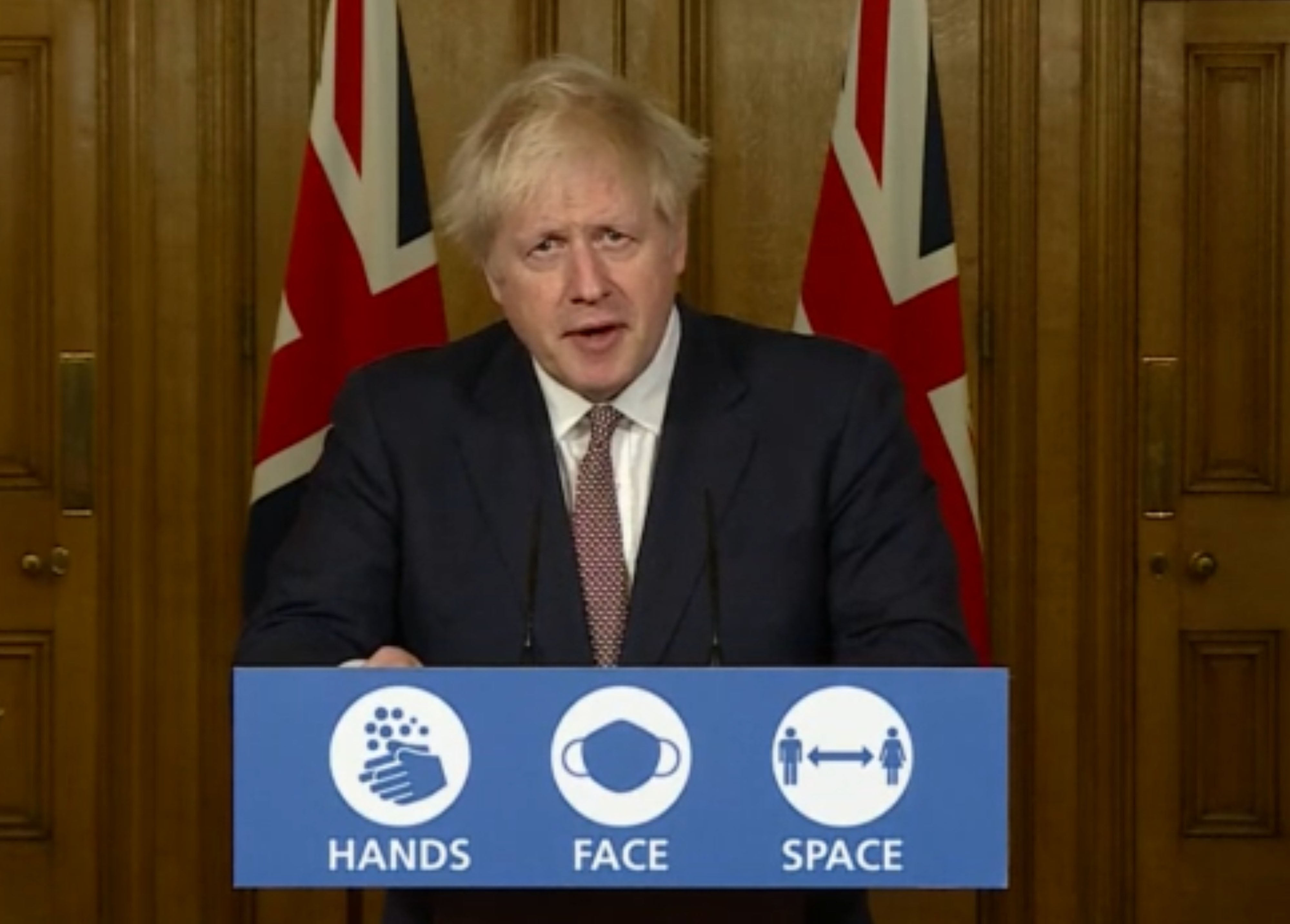 <p>Boris Johnson urged the public not to 'ease off' now</p>