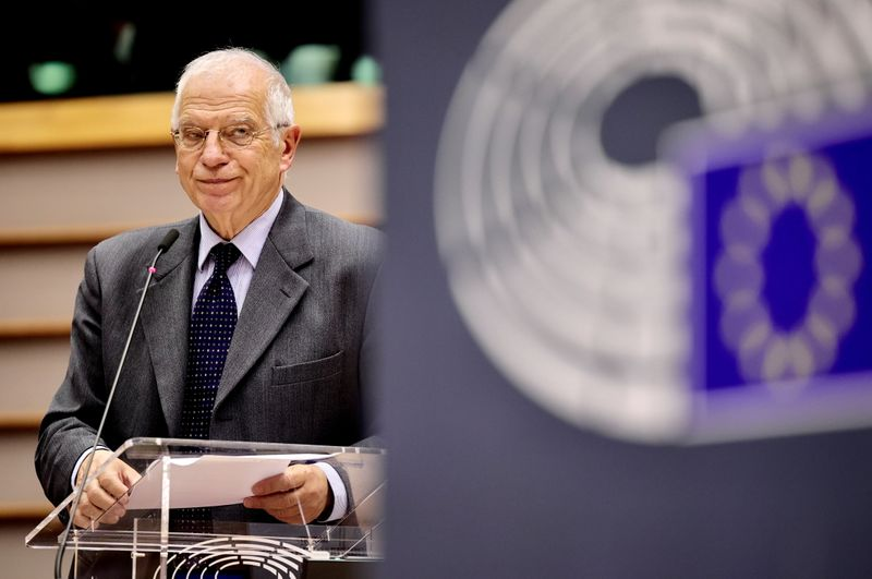 © Reuters. High Representative and vice-president of the European Commission Josep Borrell speaks at the EU Parliament in Brussels