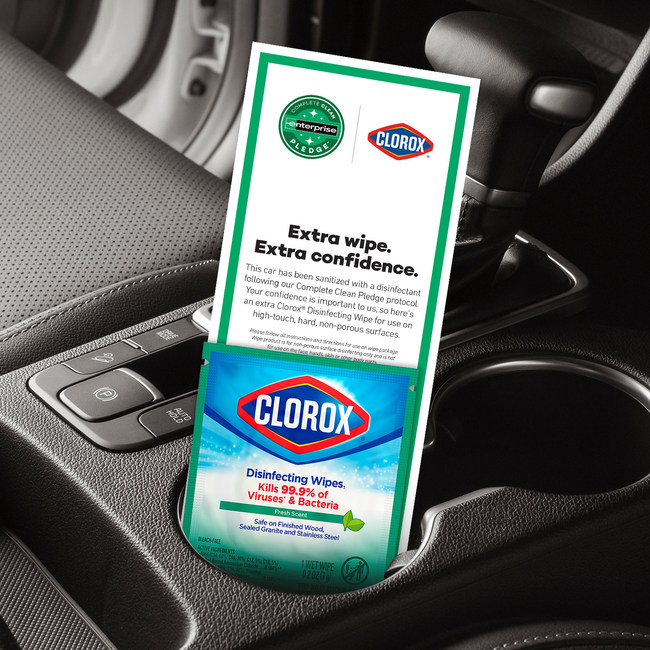 Enterprise Holdings teams up with Clorox® to provide a one-count Clorox Disinfecting Wipe in every vehicle rented through its brands – Enterprise Rent-A-Car, National Car Rental and Alamo Rent-A-Car.